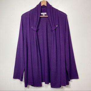 Dressbarn Purple Ribbed Shawl Collar Long Sleeve Cardigan Size 18/20